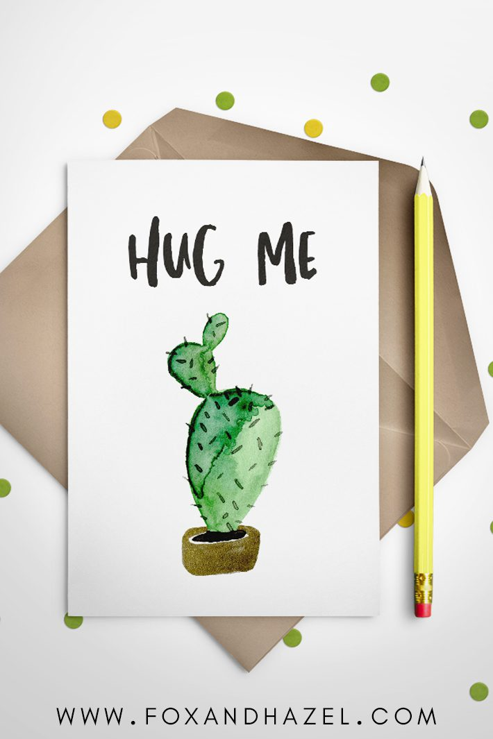 free cactus clipart on greeting card