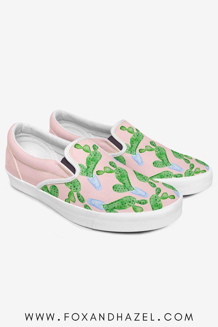 cactus print on slip on shoes on white background