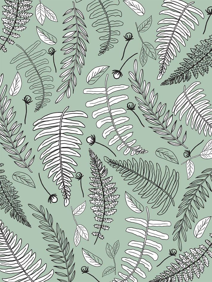 free printable wrapping paper of botanical on green background