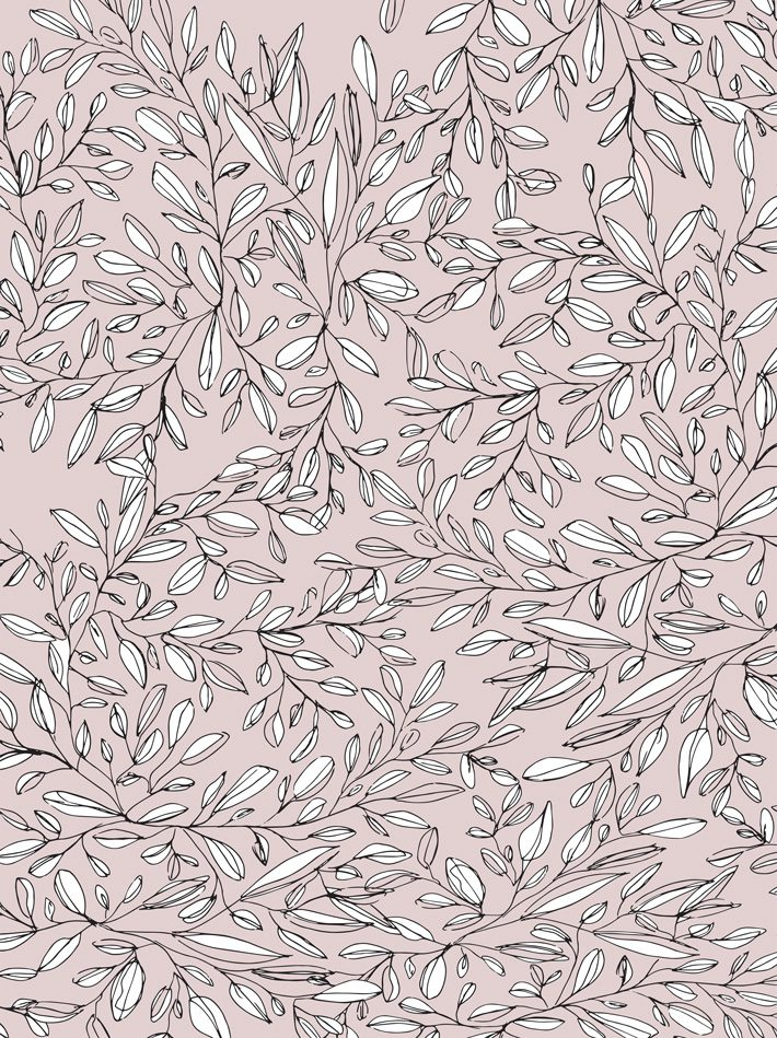 free printable wrapping paper of leaves on pink background