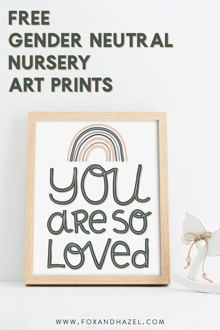 gender neutral nursery art print in wood frame