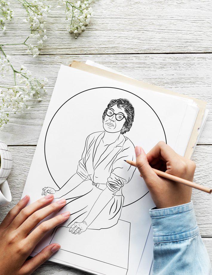 hands drawing lee krasner on paper