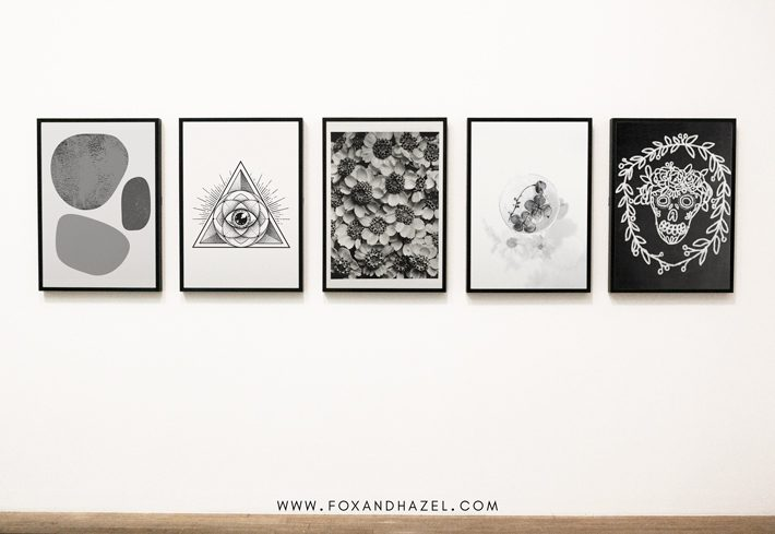 black and white art gallery wall
