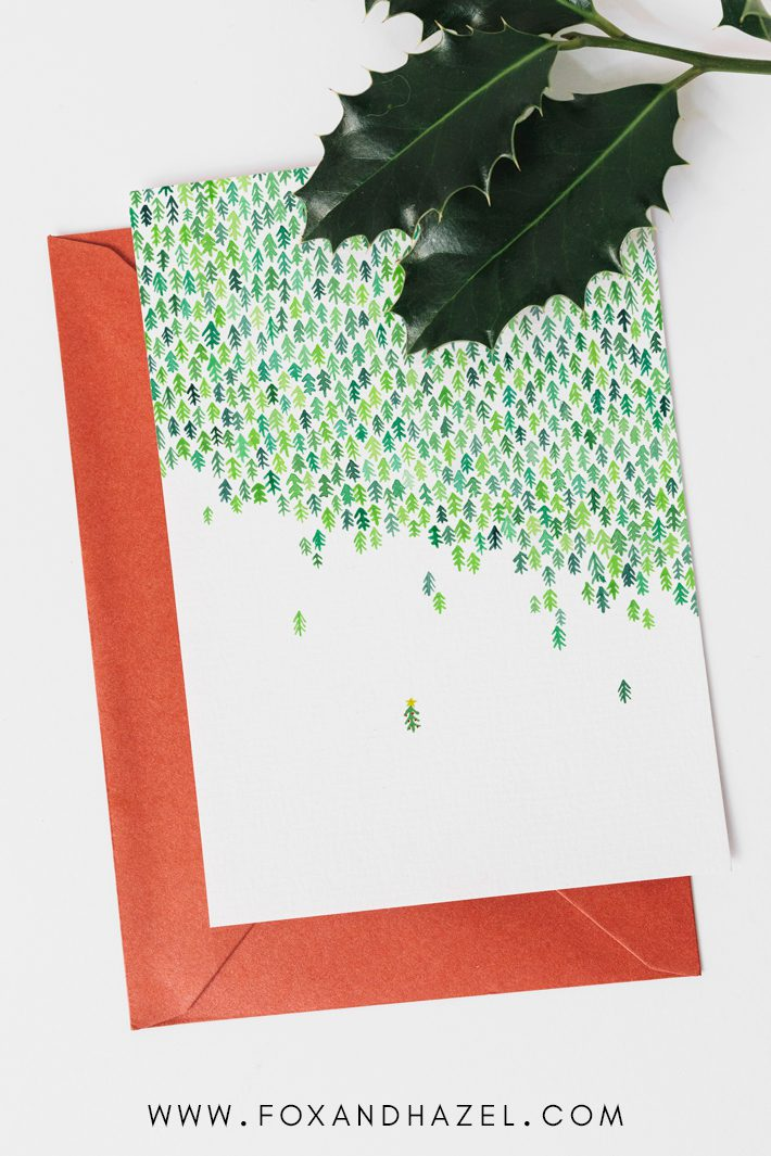 cute christmas card of tree forest