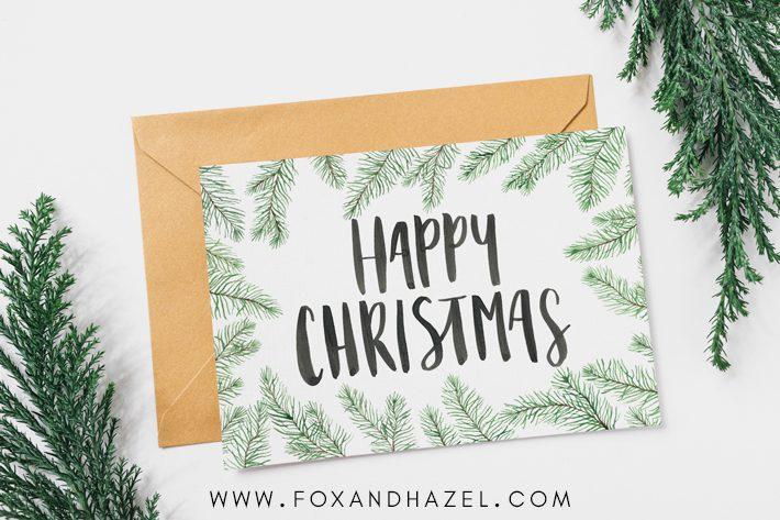 Free Christmas Card Printables Fox + Hazel Free Art + Designs