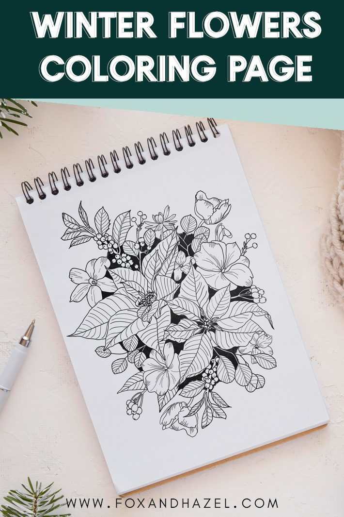winter flowers coloring page
