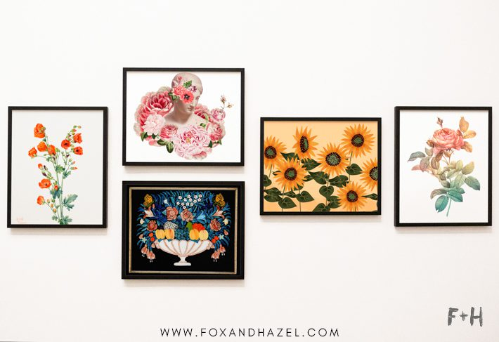 gallery wall of flower art