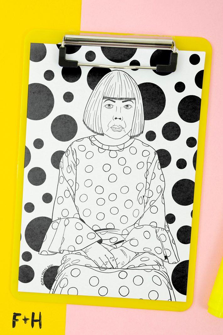 yayoi kusama coloring sheet on yellow clipboard on yellow and pink background