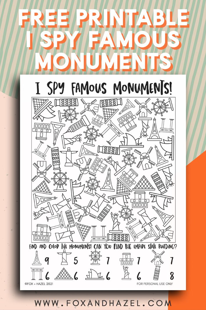 i spy activity sheet of famous monuments on colorful background