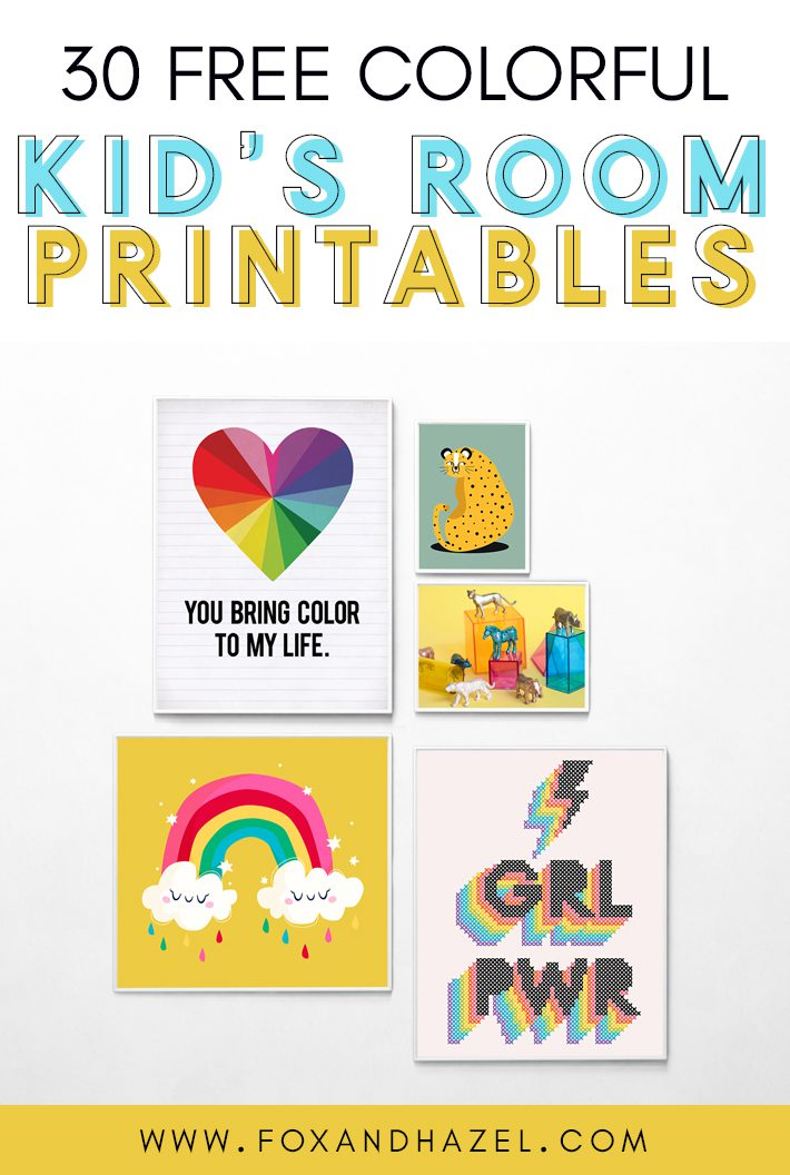 gallery wall of free colorful wall art printables for kids