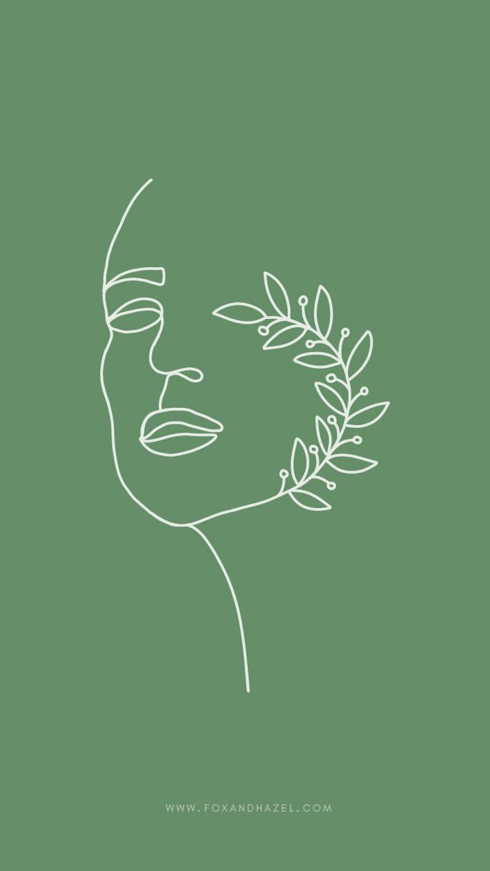sage green phone wallpaper with line art of woman's face