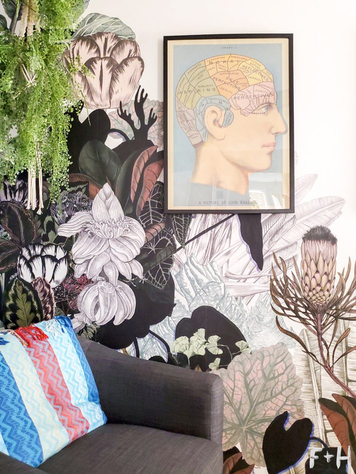 poster of phrenology head hanging on wall with jungle print wallpaper. Poster is above a grey club chair in the corner.