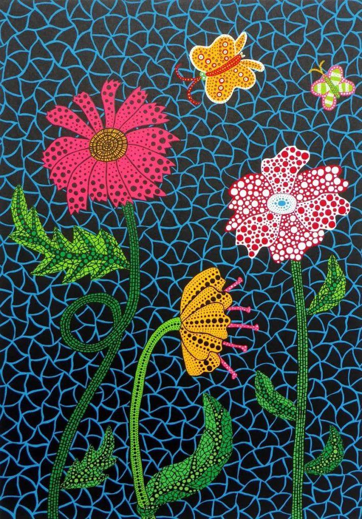 """artwork """"Flowers"""" by artist Yayoi Kusama"""