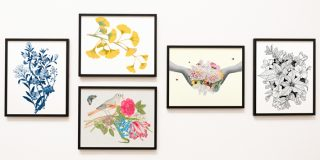 gallery wall of floral printables